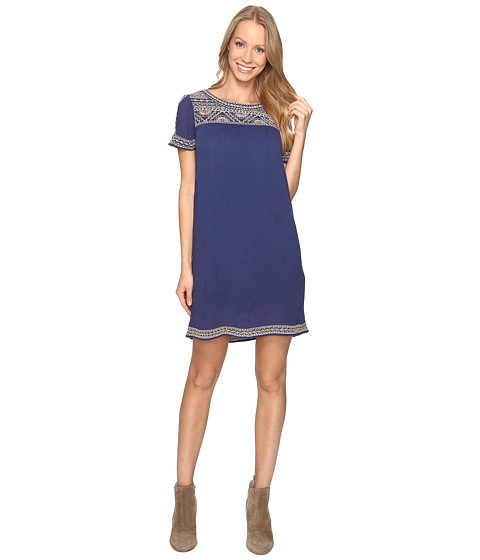 Lucky Brand Embroidered Shift Dress - Bright Navy