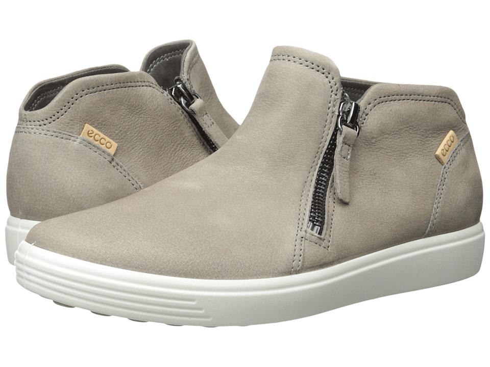 ECCO Soft 7 Low Cut Zip Bootie (Warm Grey/Powder) Women's Shoes