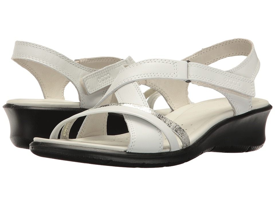 Ecco Felicia Sandal (White/Gravel) Women's Sandals