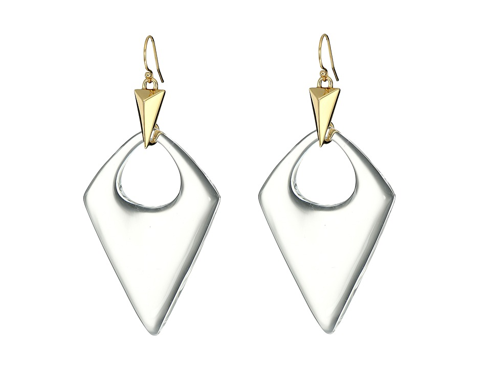 Alexis Bittar Pointed Pyramid Drop Earrings (Clear) Earring