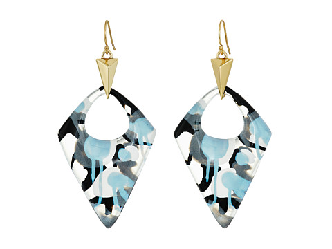 Alexis Bittar Pointed Pyramid Drop Earrings - Inverted Abstract Poppy Pattern