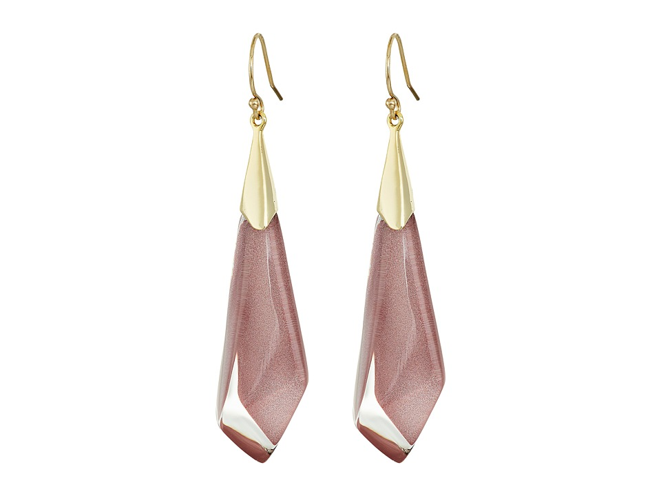 Alexis Bittar Faceted Wire Earrings (Pink Poppy Clear) Ea...
