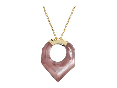 Alexis Bittar Faceted Pentagon Pendant Necklace - Pink Poppy Clear
