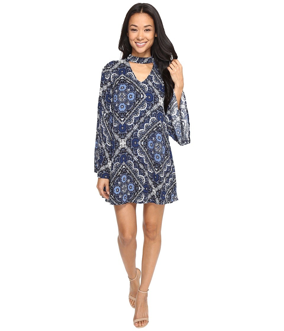 Brigitte Bailey Avah Long Sleeve Dress with Keyhole (Navy) Women