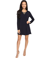 Brigitte Bailey - Secilia Long Sleeve Knit Shift Dress with Front Cross
