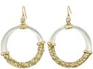 Alexis Bittar Woven Raffia Hoop Wire Earrings