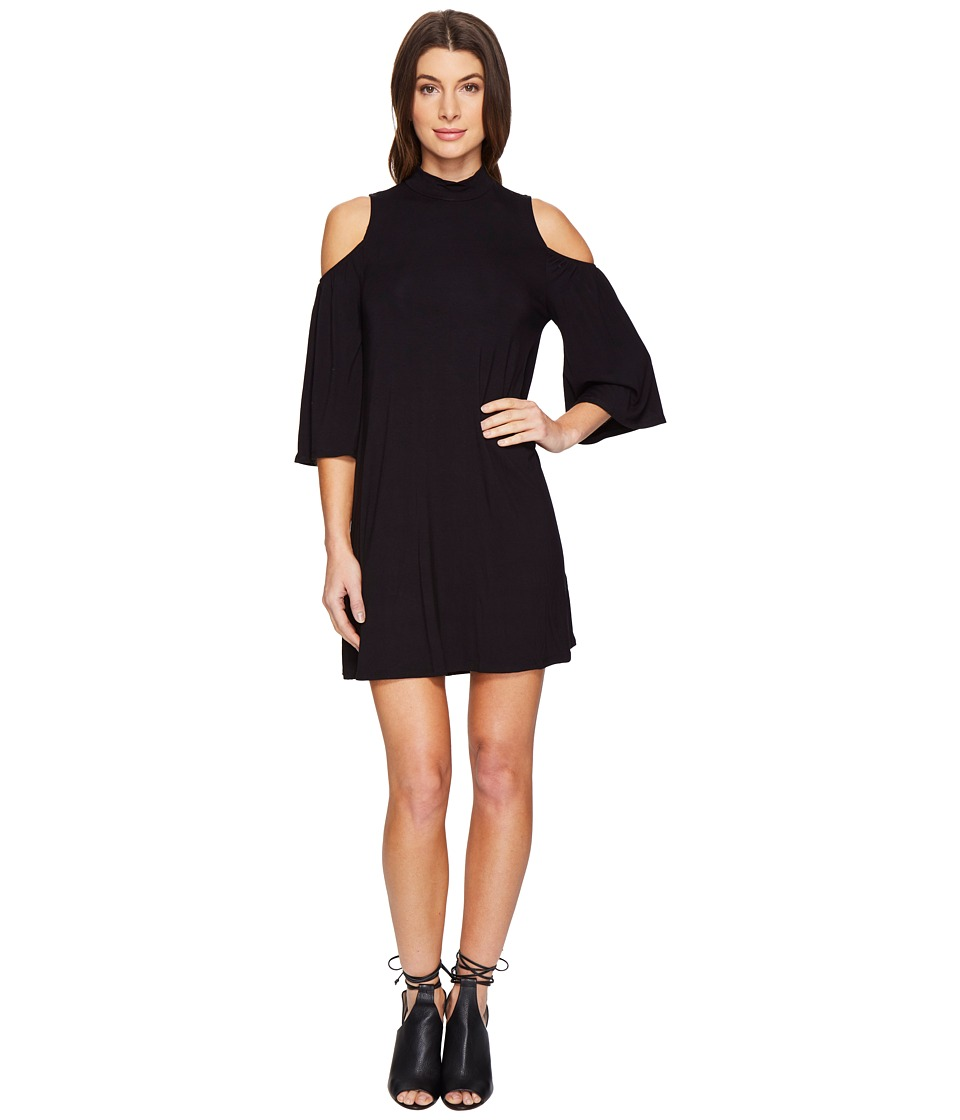 Culture Phit Jamee Mock Neck Open Shoulder Shift Dress (Black) Women