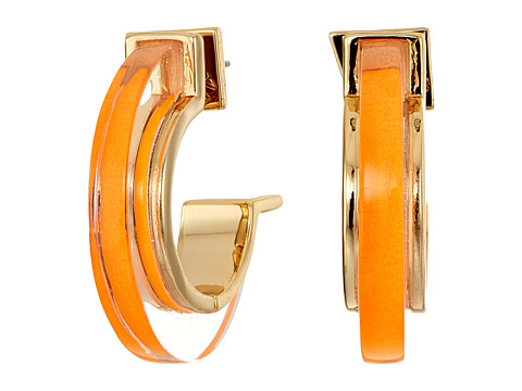 Alexis Bittar Minimalist Hoop Earrings - Neon Orange Clear