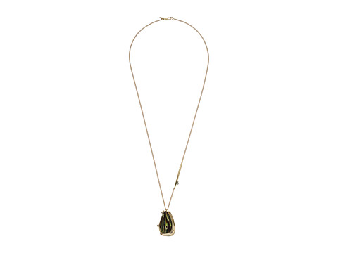 Alexis Bittar Wood Grain Pendant with Satellite Crystal Detail Necklace - Iridescent Wood Grain