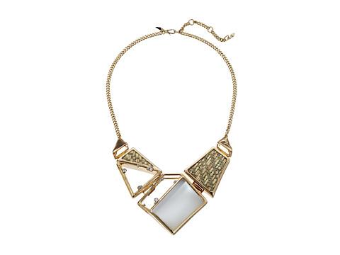 Alexis Bittar Geometric Woven Raffia Bib Necklace - Polished Silver