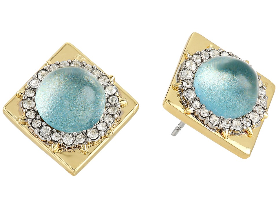 Alexis Bittar - Crystal Encrusted Geometric Studded Post Earrings (Blue Moss) Earring