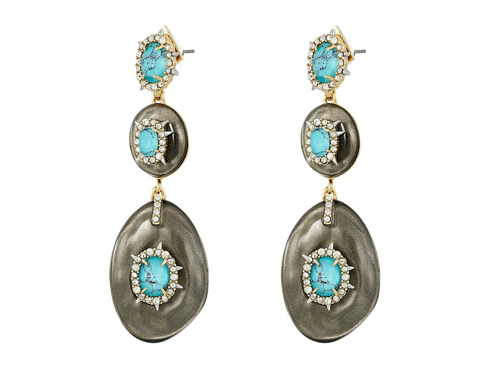 Alexis Bittar - Crystal and Stone Studded Liquid Silk Dangling Post Earrings