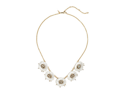 Alexis Bittar Crystal and Stone Studded Small Liquid Silk Bib Necklace - Polished Silver