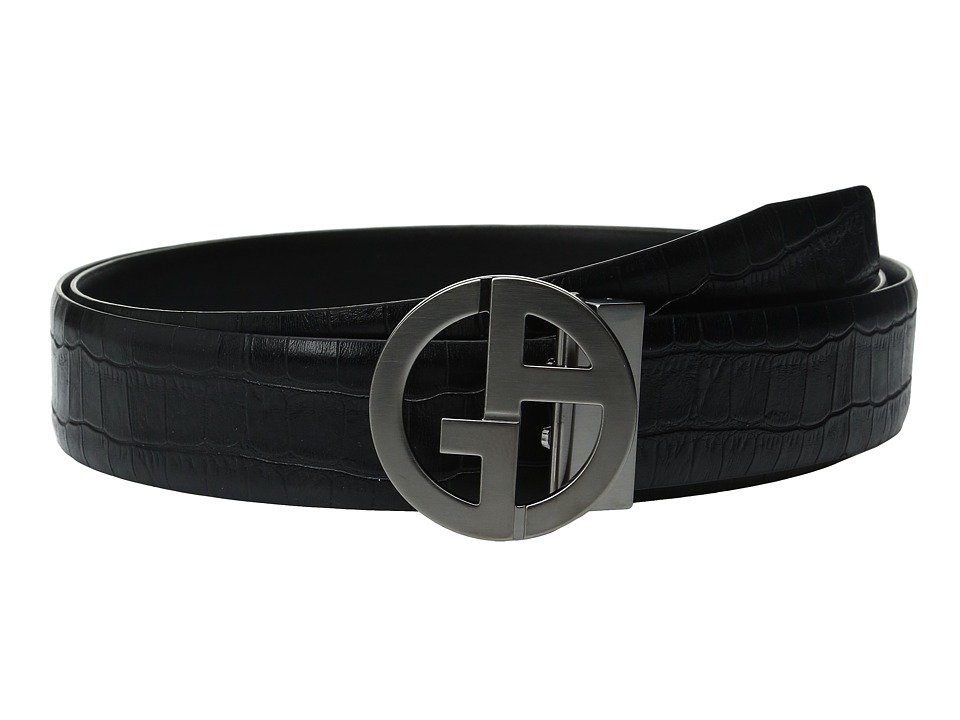 Giorgio Armani - Croc Stamped/Liscio Belt (Black/Black) Men's Belts