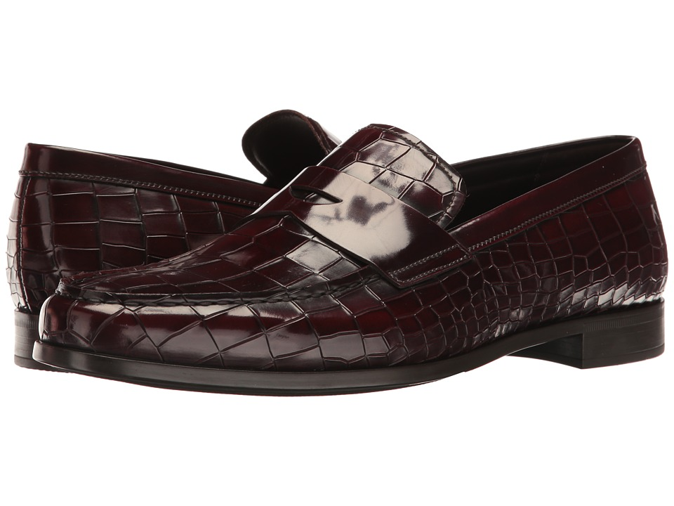 Giorgio Armani - Stamped Croc Loafer (Burgundy) Men's Slip on  Shoes