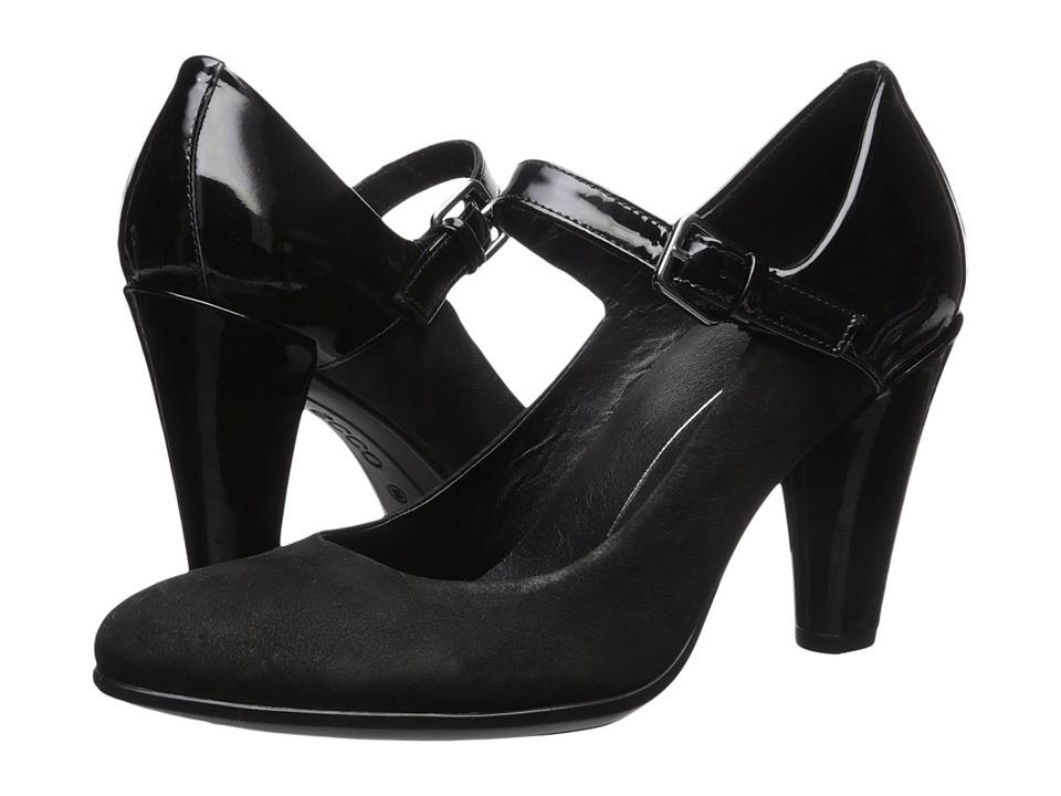 10 Popular 1940s Shoes Styles for Women ECCO - Shape 75 Round Mary Jane BlackBlack High Heels $160.00 AT vintagedancer.com
