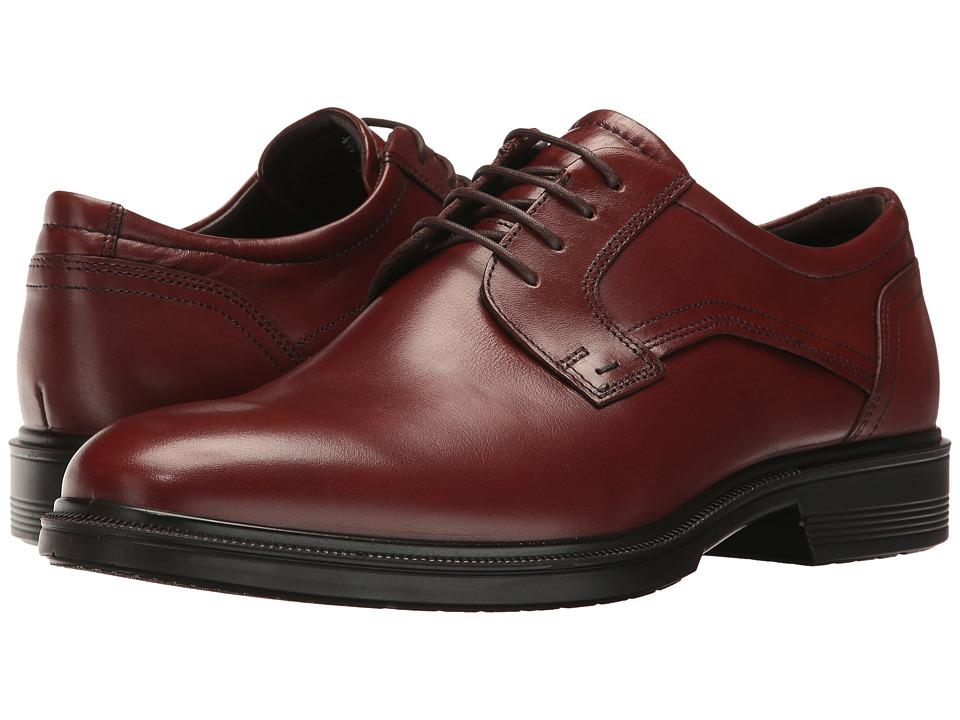 ECCO - Lisbon Plain Toe Tie (Cognac) Men's Plain Toe Shoes