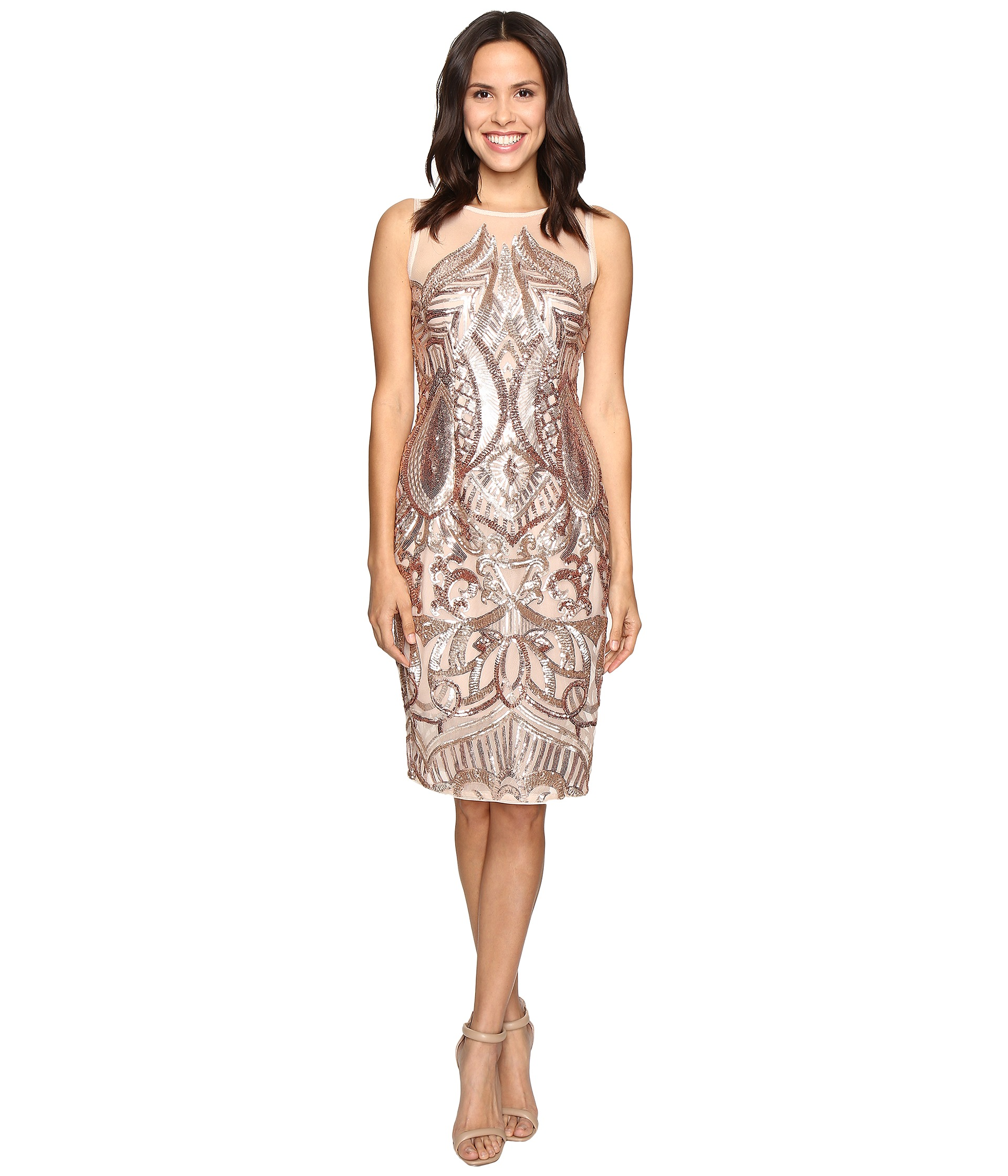 Adrianna Papell Sequin Panel Illusion Cocktail Dress Rose