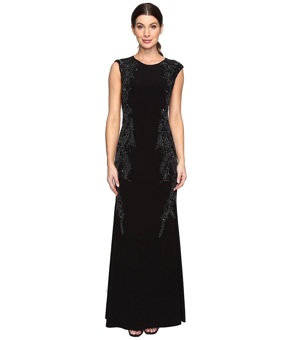 Adrianna Papell Cap Sleeve Jersey Beaded Gown (Black) Women
