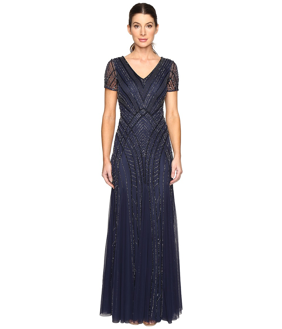 Adrianna Papell Short Sleeve Illusion Neck Beaded Gown (Navy) Women