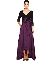 Adrianna Papell - Two-Tone Embellished Sleeve Taffeta Gown