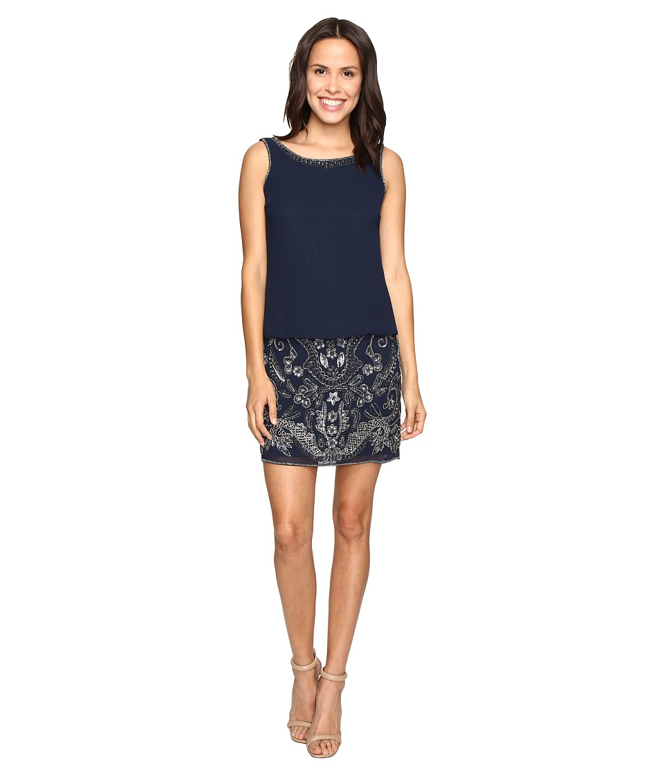 Adrianna Papell Beaded Blouson Cocktail Dress (Navy) Women