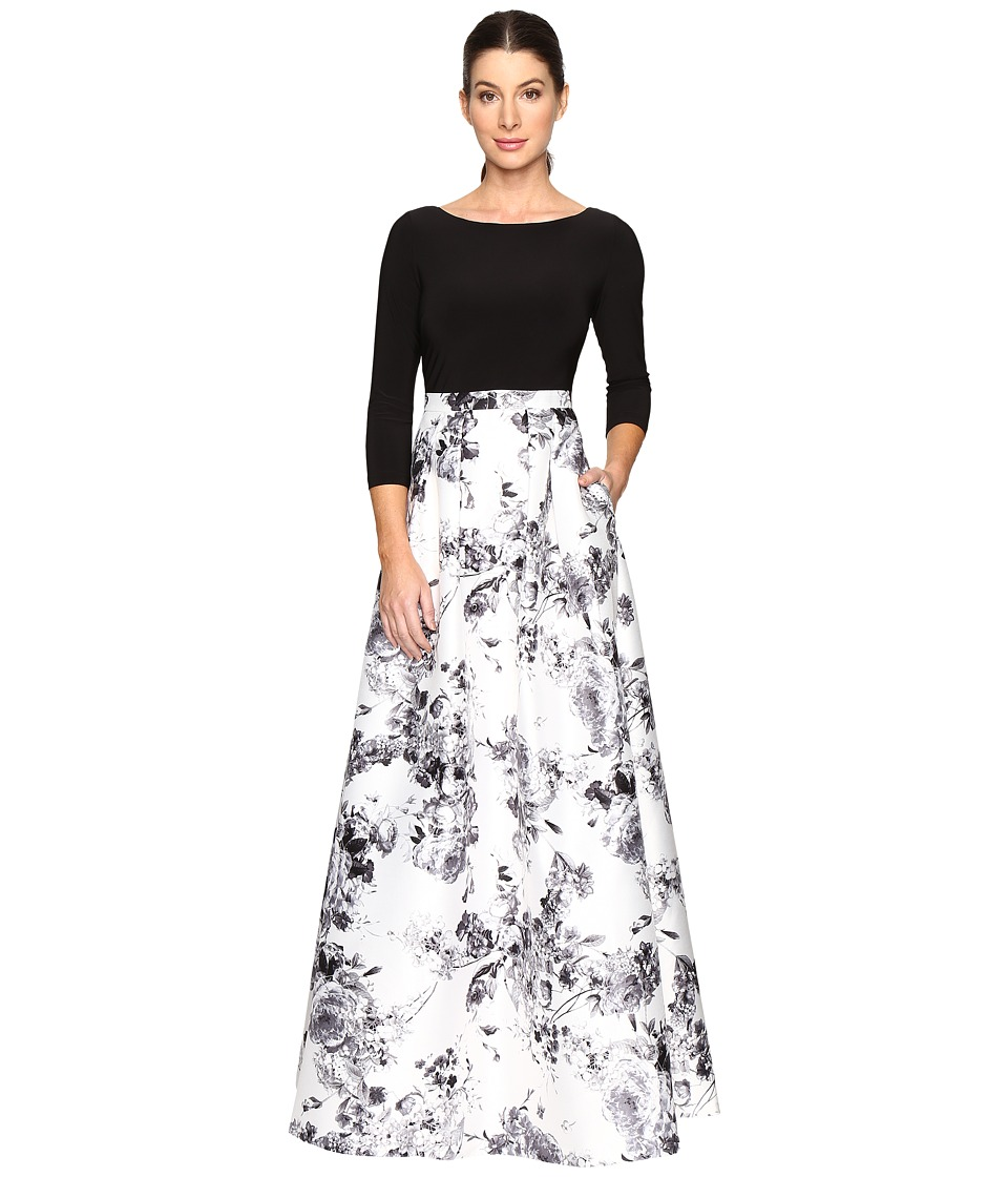 Image of Adrianna Papell - 3/4 Sleeve Jersey Print Mikado Gown (White Multi) Women's Dress