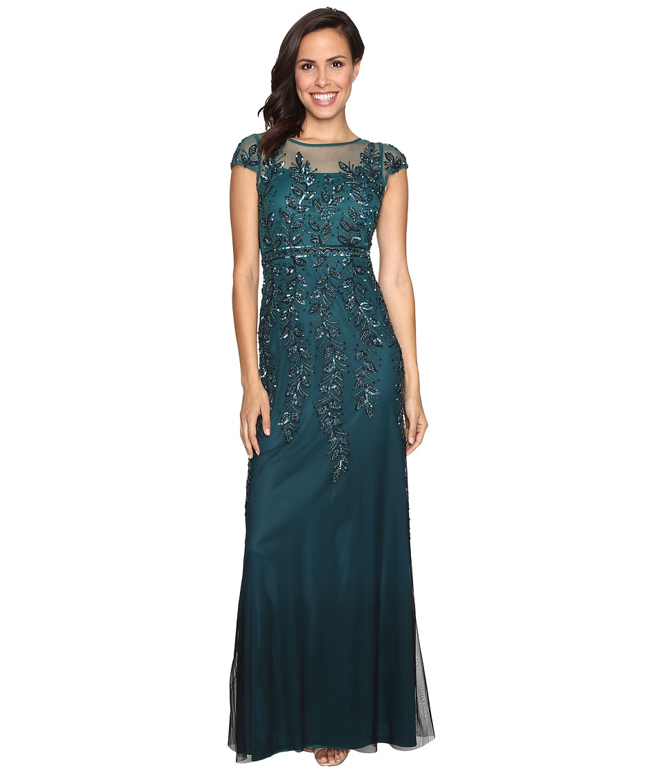 Adrianna Papell Illusion Neckline Embellished Gown (Hunter) Women