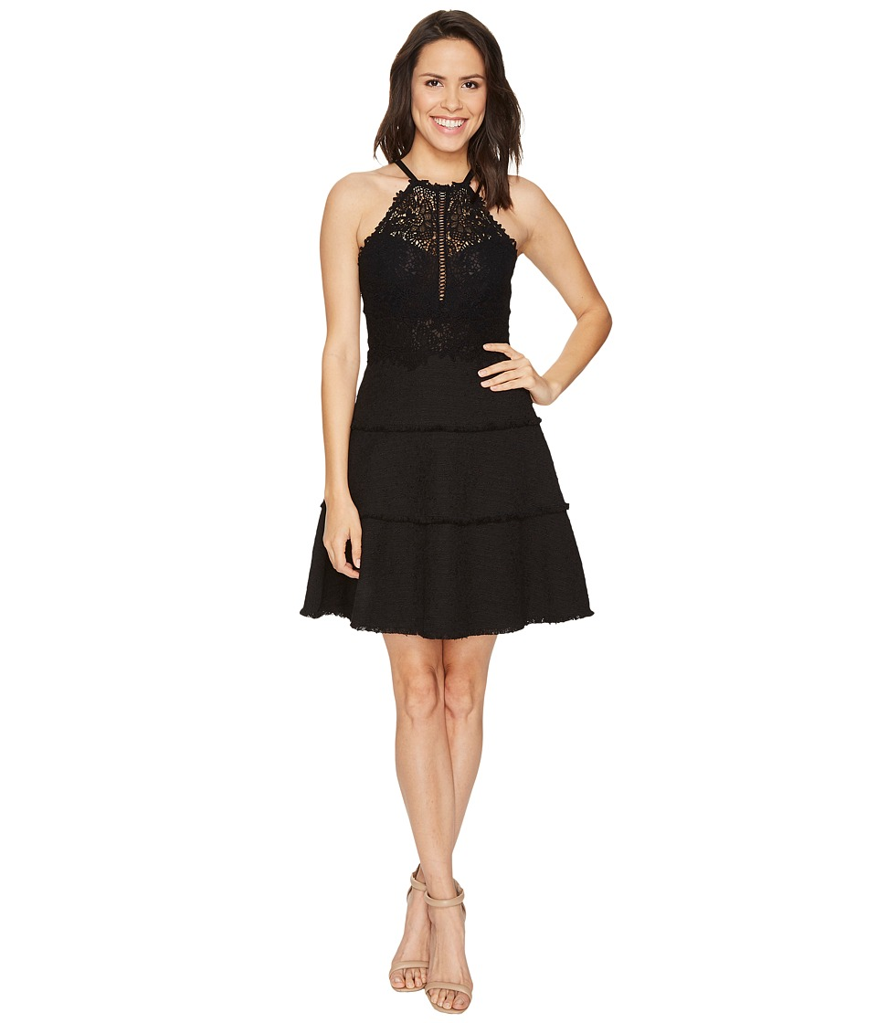 Rebecca Taylor Sleeveless Tweed Lace Dress (Black) Women