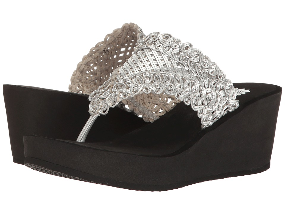 Yellow Box Charm (Silver) Women's Wedge Shoes