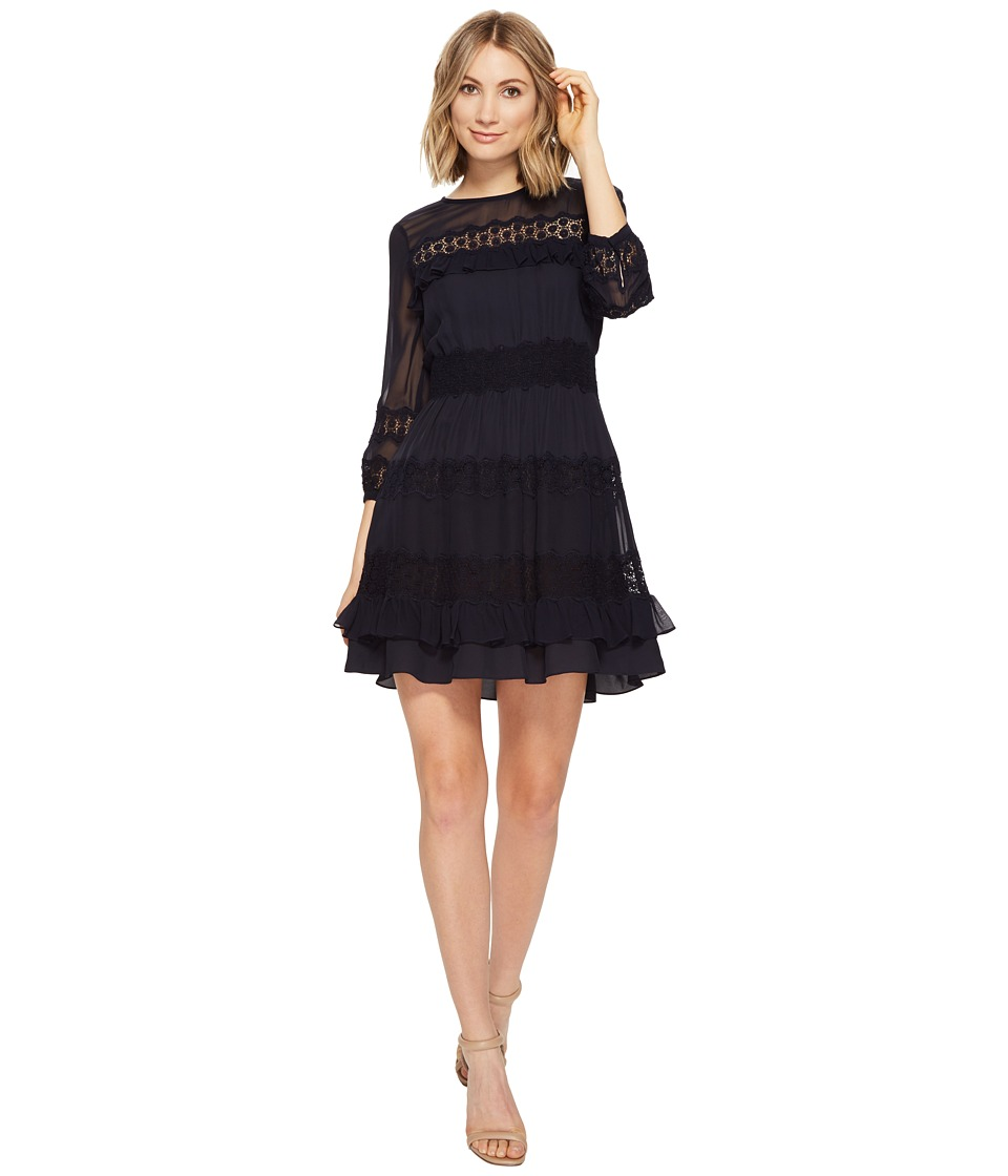 Rebecca Taylor Long Sleeve Georgette Dress w/ Lace (Dark Navy) Women