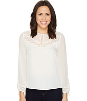 Rebecca Taylor - Long Sleeve Georgette Top w/ Lace