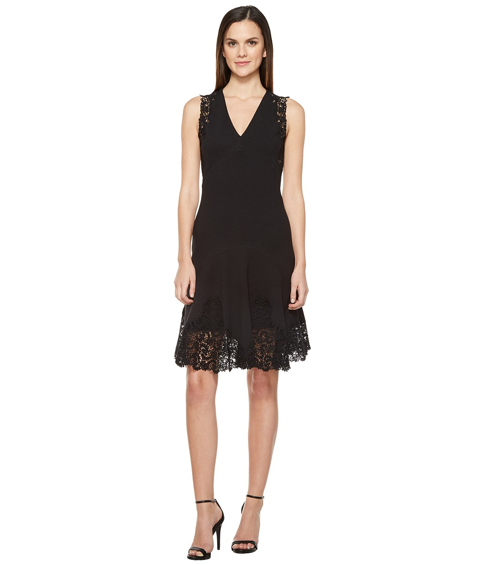 Rebecca Taylor Sleeveless Text Dress w/ Lace (Black) Women