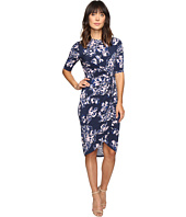 Ivanka Trump - Printed Matte Jersey Knot Dress with Sleeves