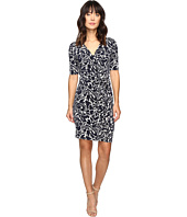 Ivanka Trump - Printed Matte Jersey Dress with Ruffle Front