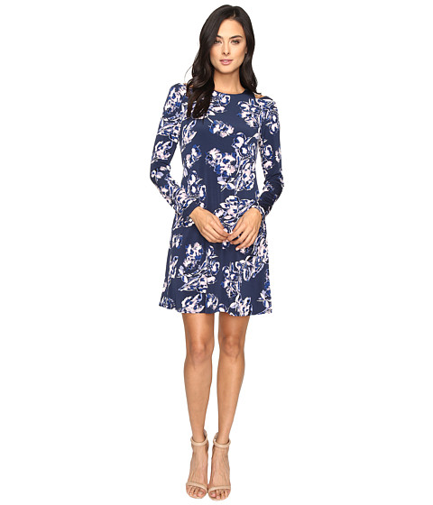 Ivanka Trump Printed Cold Shoulder Dress - Navy/Lilac