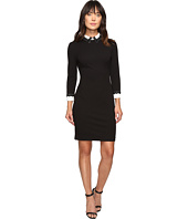 Ivanka Trump - Long Sleeve Scuba Crepe Dress with Lace Trim Details