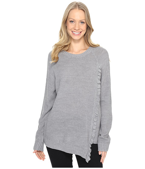 Ivanka Trump Long Sleeve Sweater with Asymmetrical Ruffle - Heather Storm