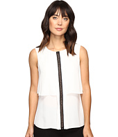 Ivanka Trump - Sleeveless Double Layer Georgette Top with Contrast Trim