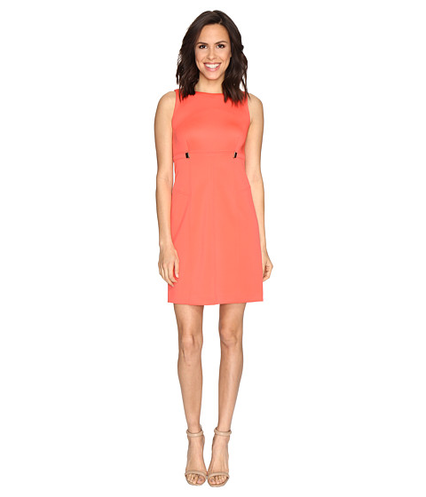 Ivanka Trump Solid Scuba Fit and Flare Dress with Hardware Grommets