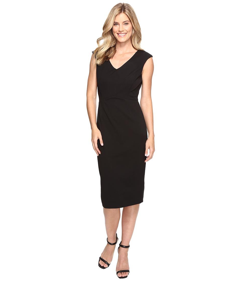 Ivanka Trump Scuba Crepe Midi Length Compression Dress (Black) Women