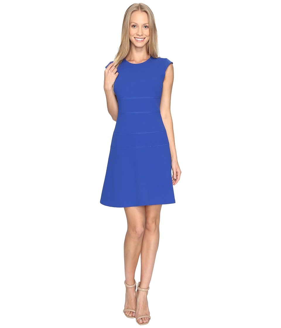 Vince Camuto Cap Sleeve Fit and Flare Seamed Dress (Core Blue) Women