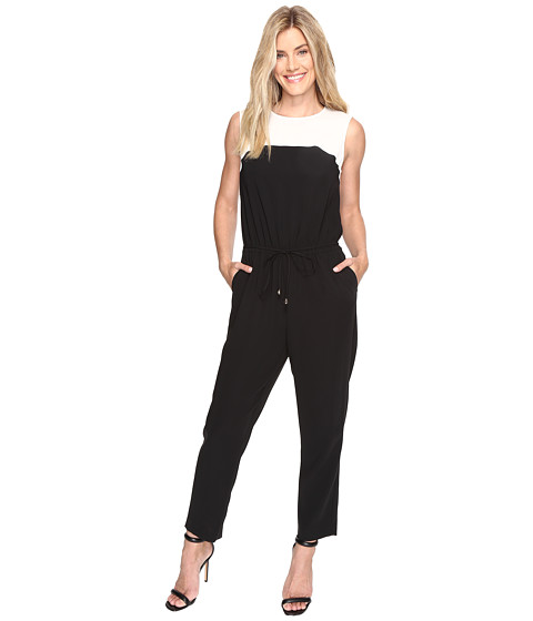 Vince Camuto Sleeveless Color Blocked Drawstring Jumpsuit