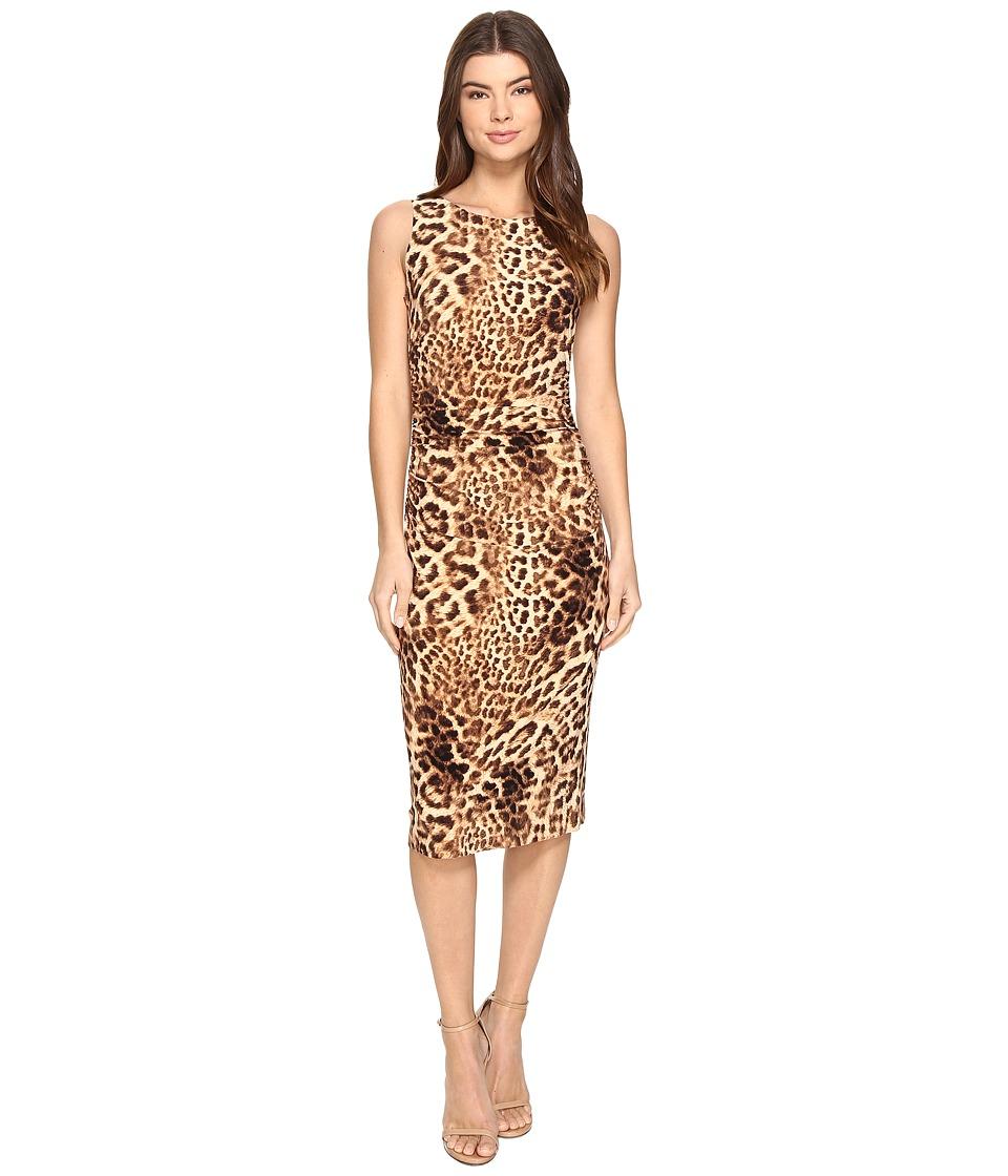 KAMALIKULTURE by Norma Kamali Sleeveless Shirred Waist Dress (Caramel Leopard) Women
