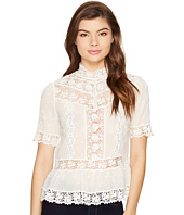 Rebecca Taylor - Short Sleeve Eyelet Mock Top