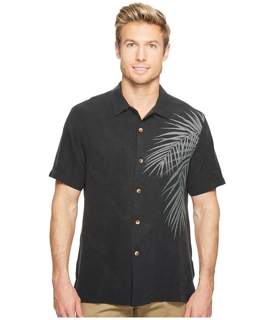 1950s Style Mens Shirts Tommy Bahama - Palm Intentions Camp Shirt Jet Black Mens Clothing $128.00 AT vintagedancer.com