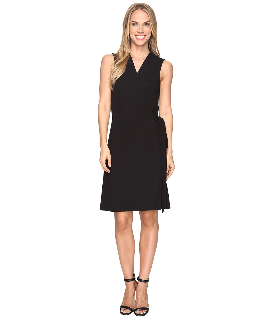 Vince Camuto Sleeveless Belted Wrap Dress (Rich Black) Wo...