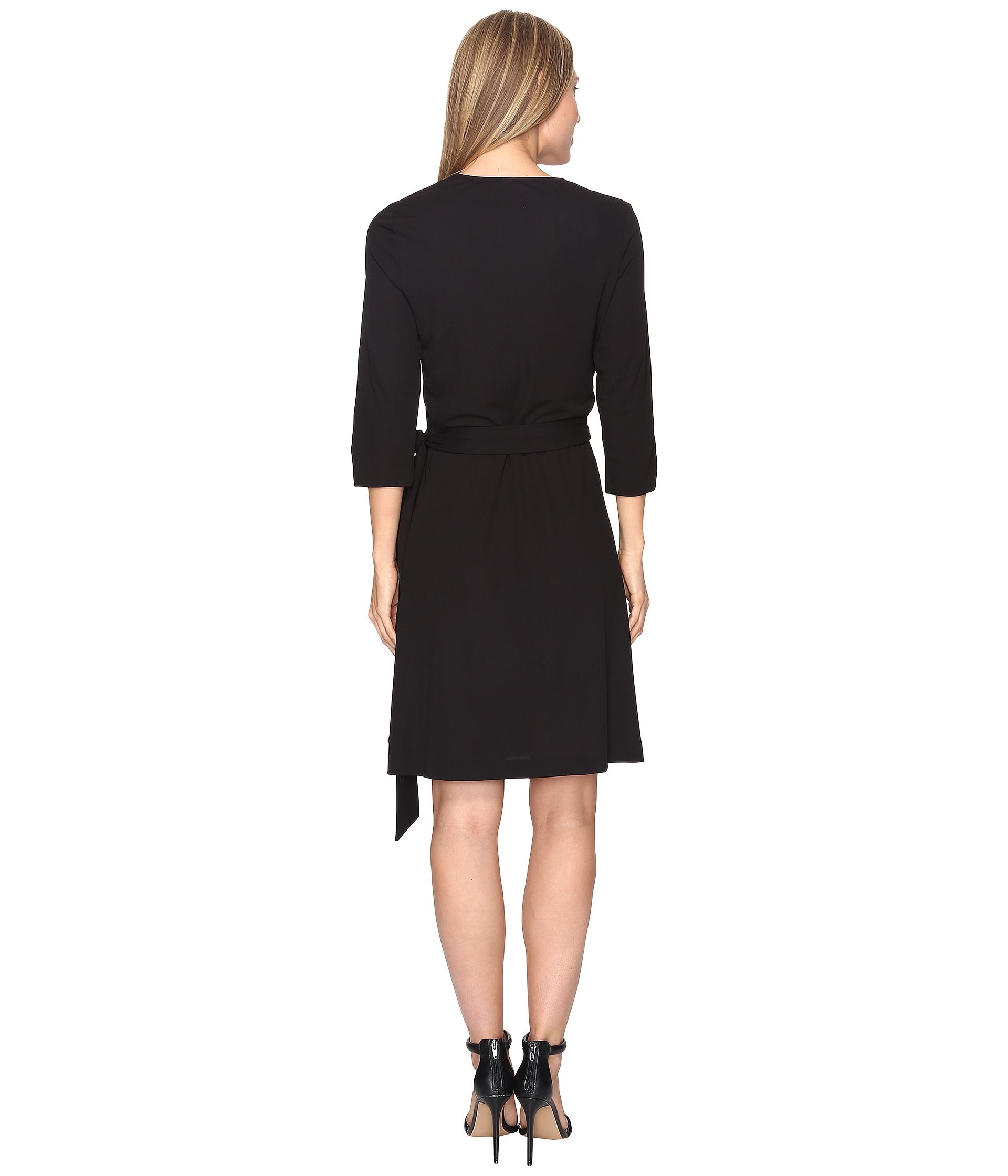 vince camuto 3 4 sleeve belted wrap dress at zappos