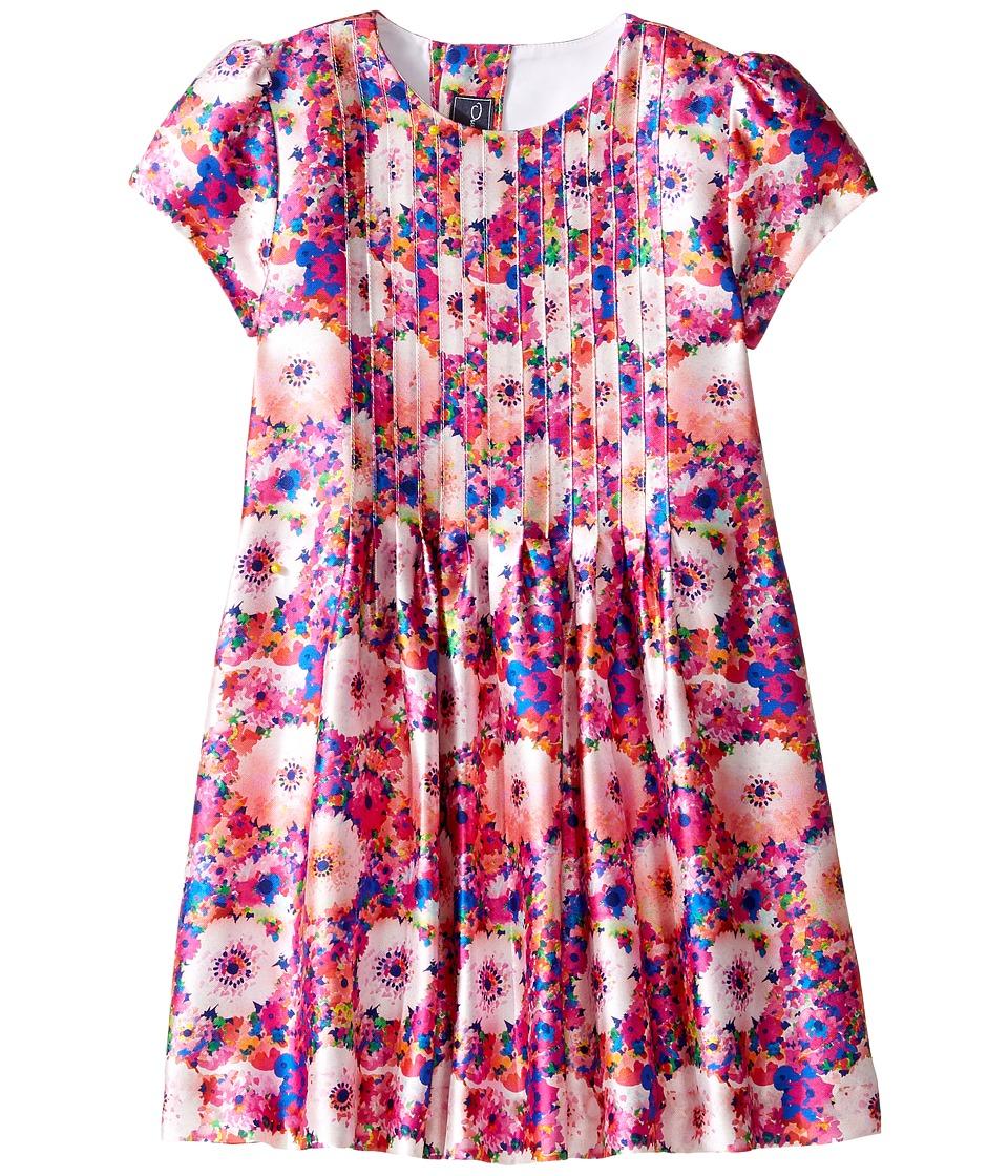 Oscar de la Renta Childrenswear - Rainbow Dalhia Mikado Short Sleeve Pin Tuck Dress