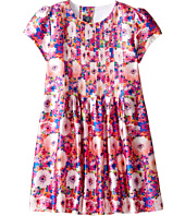 Oscar de la Renta Childrenswear - Rainbow Dalhia Mikado Short Sleeve Pin Tuck Dress (Toddler/Little Kids/Big Kids)
